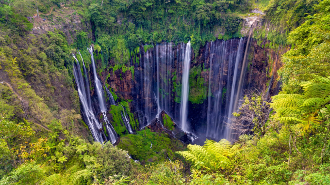 Possessing a surprising semicircular shape, Tumpak Sewu is surrounded by tropical forest